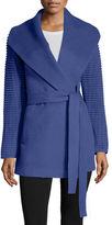 SENTALER Ribbed-Sleeves Shawl-Collar Wrap Alpaca Coat