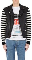 Loewe Men's Striped Sleeve Leather Moto Jacket
