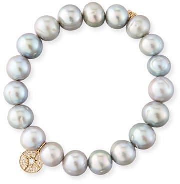 Sydney Evan 10mm Potato Pearl Beaded Bracelet with Diamond Starburst Charm