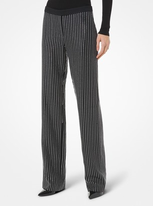 Michael Kors Swarovski Crystal Pinstripe Double Crepe Sable Trousers
