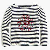 J.Crew Striped boatneck T-shirt with French logo