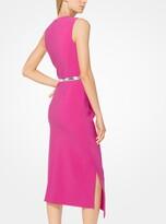 Michael Kors Stretch Pebble-Crepe Draped Sheath Dress
