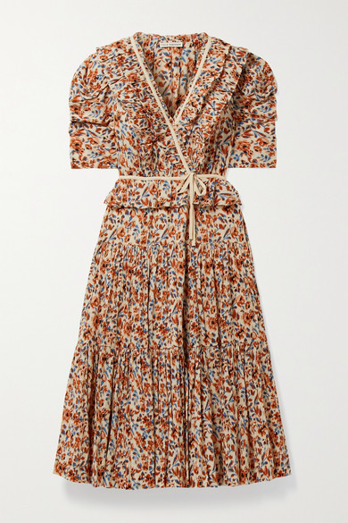 Ulla Johnson Lisette Ruffled Floral-print Cotton-crepon Wrap Midi Dress - Brown