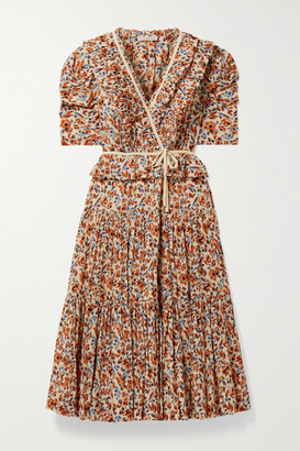 Ulla Johnson Lisette Ruffled Floral-print Cotton-crepon Wrap Midi Dress - Brown