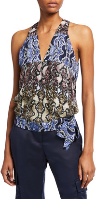 Parker Kenna Printed Sleeveless Side-Tie Surplice Top