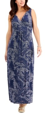 Charter Club Petite Dotted Floral-Print Maxi Dress, Created for Macy's