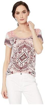Lucky Brand Persian Carpet Tee (Dusty Rose Multi) Women's T Shirt