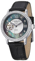 Stuhrling Original Women&s Memoire Diamond Alligator Embossed Leather Strap Watch