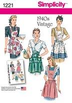 Simplicity 1221 Size A Misses Vintage Aprons Sewing Pattern, Multi-Colour