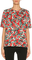 Marni Short-Sleeve Floral-Print Top, Green