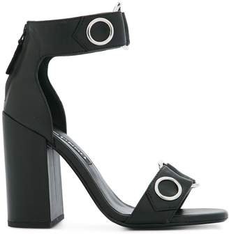 Senso block heeled eyelet sandals