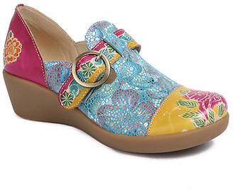 Sweet Acacia Women's Clogs Multi - Yellow & Blue Floral Leather Shoe - Women