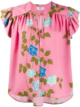 MSGM Rose Print Tie-Neck Blouse