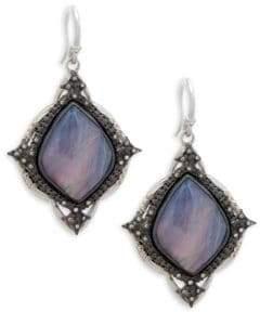 Armenta Champagne Diamond & Rainbow Moonstone Kite Cross Earrings