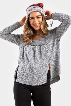 francesca's Bethany Babydoll Double Slit Blouse - Heather Gray