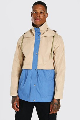 boohoo Mens Beige Colourblock Lightweight Parka, Beige