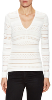 Bailey 44 Perfroated Stripe V-Neck Top