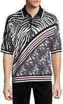 Dolce & Gabbana Zebra & Palm Tree Polo Shirt, Black/White/Red