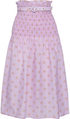 Nicholas Belted Shirred Polka-dot Cotton And Silk-blend Midi Skirt