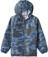 Joe Fresh Kid Boys' Camo Rain Jacket, Dusty Blue (Size L)