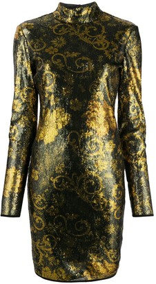 Versace Floral-Pattern Sequinned Dress