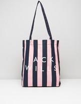Jack Wills Ambleshire Book Bag In Pink & Navy Stripe