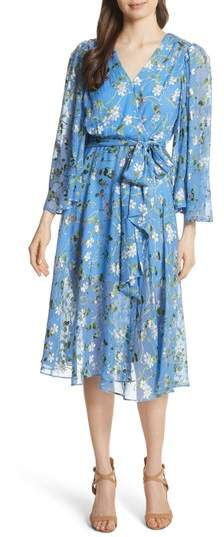Alice + Olivia Halsey Bell Sleeve Faux Wrap Dress
