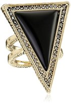 House Of Harlow Black Triangle Theorem Ring, Size 6