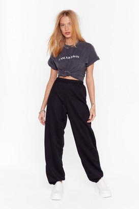 Nasty Gal Womens Stretch Waist High-Waisted Joggers with Fitted Cuffs - Black
