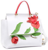Braccialini Marcella Flower Applique Saffiano Leather Satchel