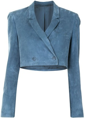 Sally LaPointe Cropped Suede Blazer