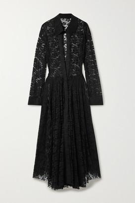 Norma Kamali Pleated Stretch-lace Midi Dress