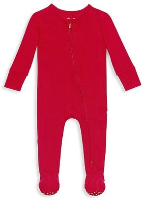 Posh Peanut Baby's Crimson Rib Footie Double Zippered One-Piece
