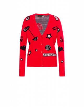 Love Moschino Cardigan Gym All Over