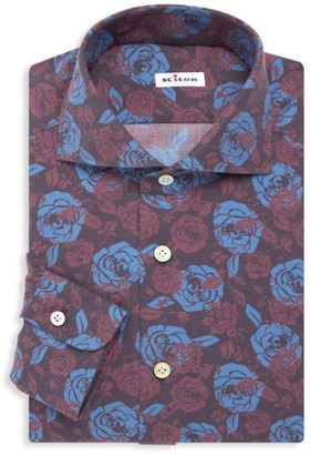 Kiton Contemporary-Fit Flower Print Dress Shirt