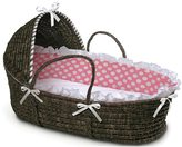 Badger Basket Espresso Hooded Moses Basket in Pink Polka Dot