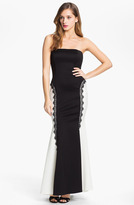 Jessica McClintock Strapless Satin Trumpet Gown