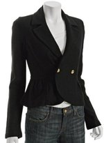 black wool double breasted peplum jacket
