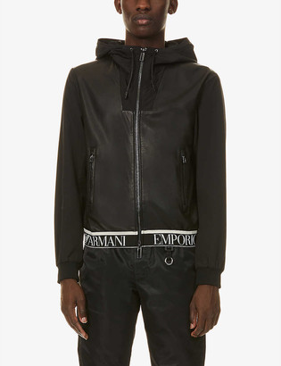 Emporio Armani Logo-embroidered leather and shell jacket