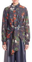Cédric Charlier Floral Print Tie Front Blouse