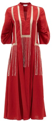 Gabriela Hearst Orpheus Macrame-panel Aloe-linen Midi Dress - Red