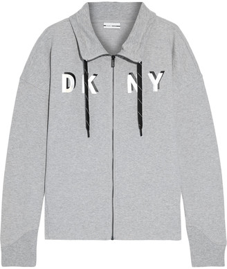 DKNY Printed Cotton-blend Fleece Track Jacket