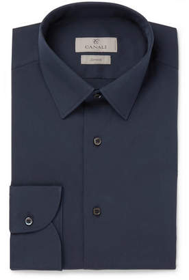 Canali Navy Slim-Fit Stretch Cotton-Blend Poplin Shirt