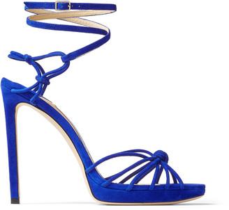 Jimmy Choo LOVELLA/PF 120 Cobalt Suede Wraparound Platform Sandals