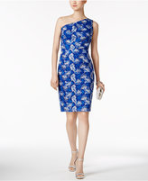 Jax Embroidered One-Shoulder Sheath Dress