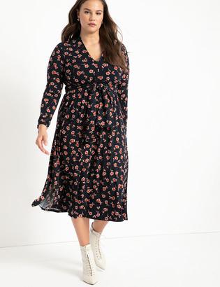 ELOQUII Tie Detail Midi Dress