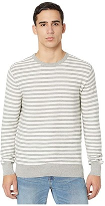 J.Crew Cotton Crewneck Sweater in Striped Garter Stitch (Stripe Navy) Men's Clothing