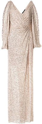 Jenny Packham Ida sequin embroidered evening dress