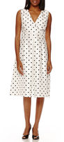 BLACK LABEL BY EVAN-PICONE Black Label by Evan-Picone Sleeveless Polka Dot A-Line Dress