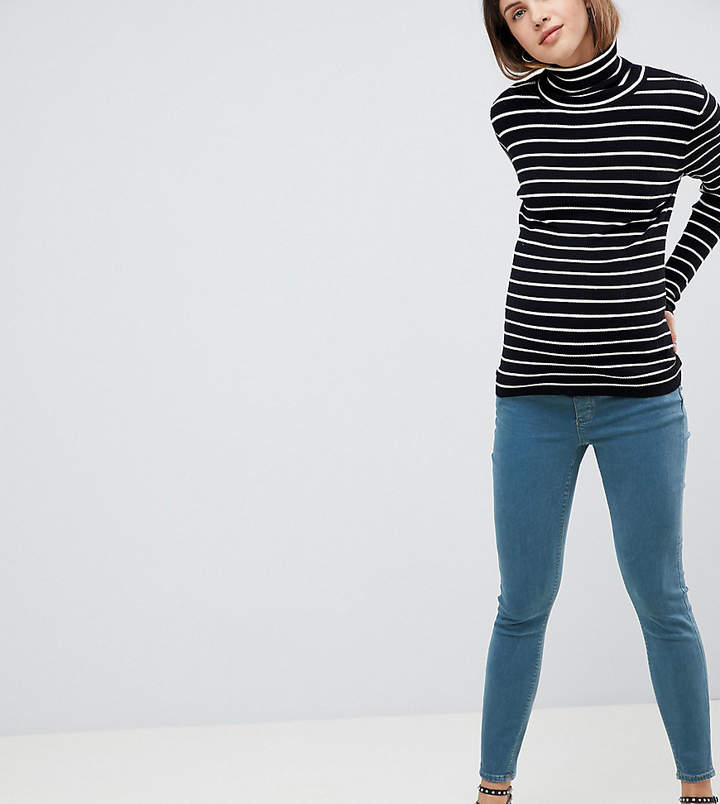 Asos Design Maternity Ridley High Waist Skinny Jeans In Amaris Green Cast Wash With Under The Bump Waistband